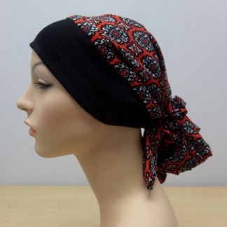 Gypsy Headscarf - Printed Silk - Red-0