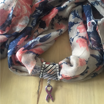 Breast Cancer Awareness Scarf Pendant-0