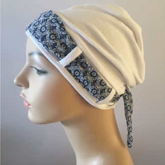 White turban with scarf - side view