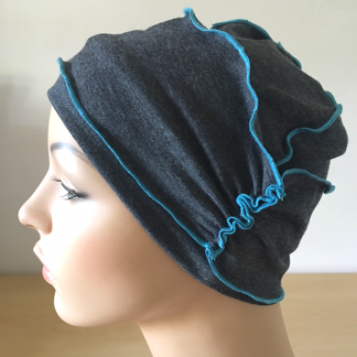Charcoal-and-Turqouise inside-Out Beanie - side view