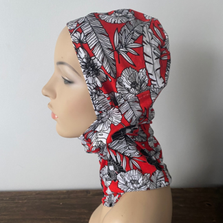 Red Floral Headzee / Balaclava