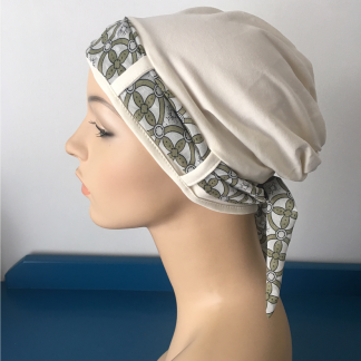Ivory Turban with Geometric pattern scarf
