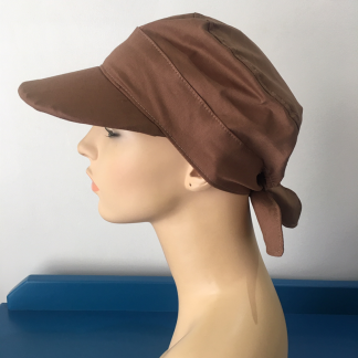 Tie-back cap with peak - Mocca