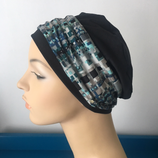 Black Sleep Cap with Mint and Blue Abstract print headband