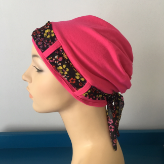 Landa Turban with Scarf – Bright Pink with Bright Fine Floral scarf-0