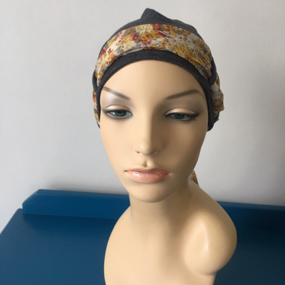 Charcoal Turban with Autumn floral scarf